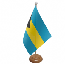 BAHAMAS - TABLE FLAG WITH WOODEN BASE